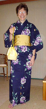 Marly, at the World Vegetarian Congress in Brazil 2004 - in a kimono presented by a Japanese Delegate