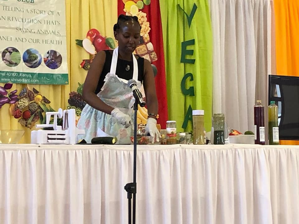 Virginia Nyaga in a food demo of raw food.