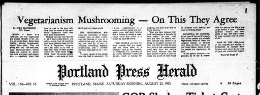 Front page of the Portland Press Herald  23 AUG 1975 p01